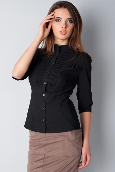 a57ed26fd7d ... Блуза черная офисная с рукавом 3 4