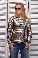 Блестящая демисезонная курточка на молнии ЗОЛОТО Италия