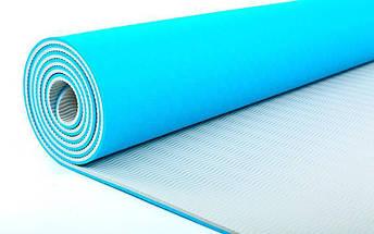 Коврик для йоги «LiveUp» LS3237-06blu TPE 1730x610x6мм, фото 3
