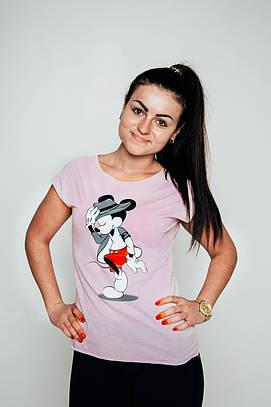Замовити Рожеву жіночу футболку оптом - Mickey Mouse за приємними ... 1f8691489f654