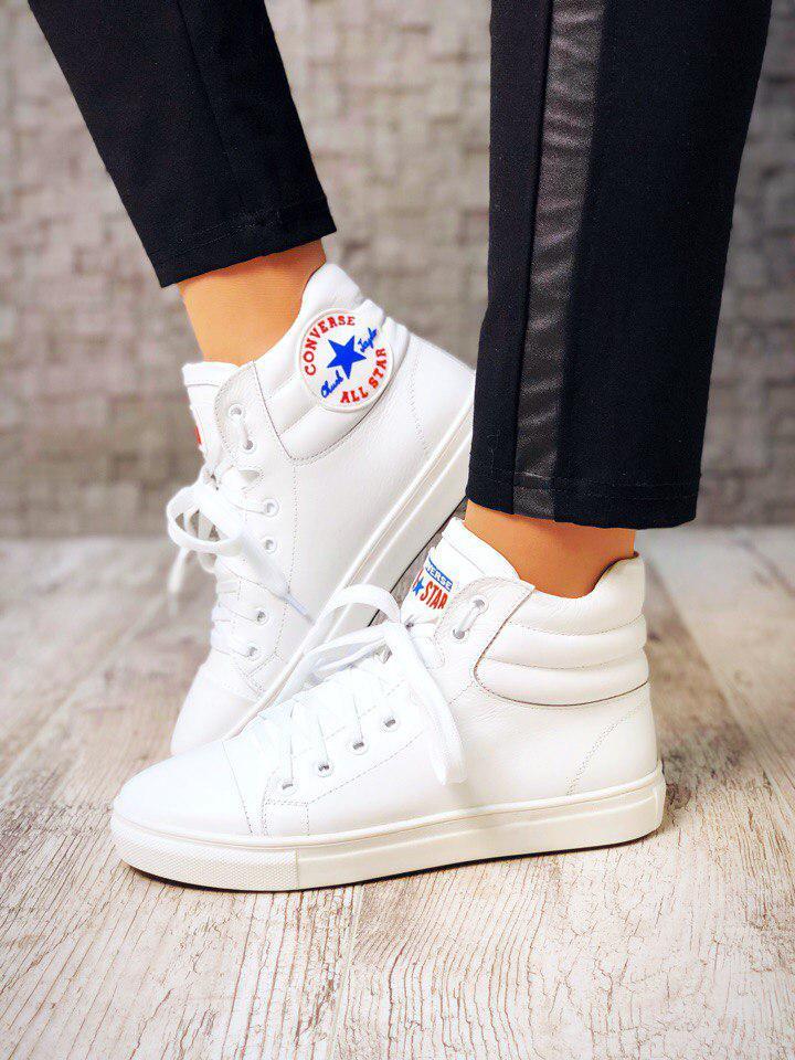 Женские высокие кожаные кеды в стиле Converse - Лэди - Shop - интернет  магазин женских товаров 41bcc91aae5d2