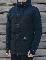 Куртка парка мужская весенняя STF tvist navy and black с капюшоном удлиненная (осень-весна, демисезонная)