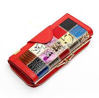 Женский кожаный кошелек. Красный, черный, фото 1