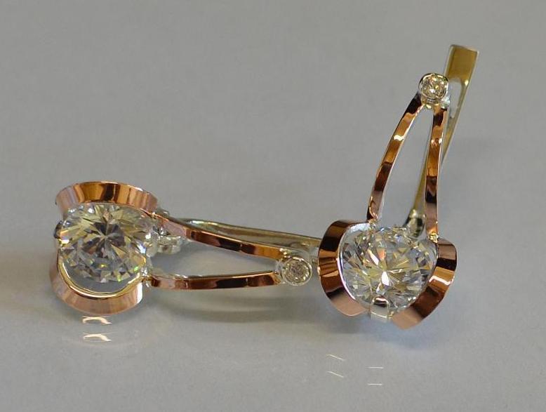 Серебряные серьги с золотыми накладками (010с)