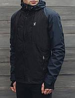 Куртка мужская спортивная весенняя STF Elies navy and black с капюшоном (осень-весна, демисезонная)