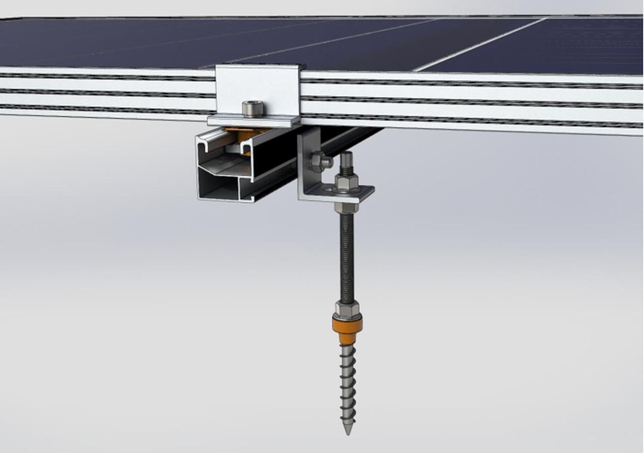 Система креплений солнечных батарей для размещения на крыше (металлочерепице, профнастилу и шиферу)