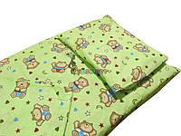 Постельный набор в детскую кроватку (3 предмета) Мишки с сердечками салатовый, фото 1