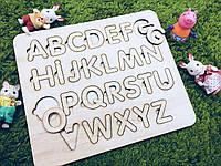 Деревянный алфавит английский. 25х25см.
