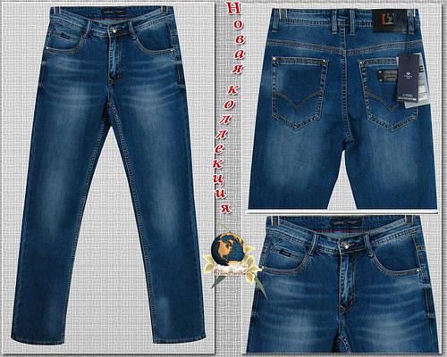 Джинсы мужские прямые классического покроя синего цвета Li Feng