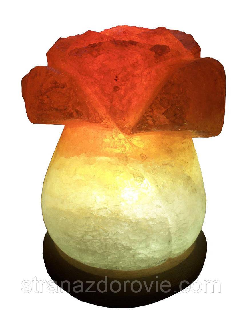 Соляной светильник Роза 3-4 кг.Белая,Цветная лампочка