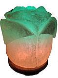 Соляной светильник Роза 3-4 кг.Белая,Цветная лампочка, фото 3