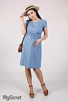 """Джинсовое платье для беременных и кормящих, """"Celena"""", точечки на джинсе"""