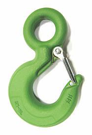 Крюк для строп с фиксатором 1250 кг - зеленый с замком