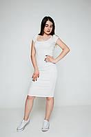 Жіноче плаття casual трикотаж від виробника - молочний