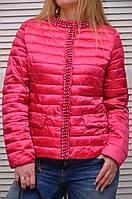 Малиновая Демисезонная курточка с жемчугом на молнии Италия
