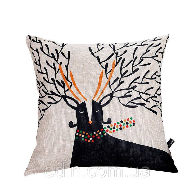 Декоративная подушка Черный Олень