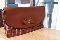 Женский клатч сумка бантик коричневого цвета