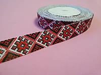 Лента репсовая Орнамент красный 20 мм метр, фото 1