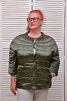 Демисезонная курточка ХАКИ на кнопках с жемчугом и карманами Италия