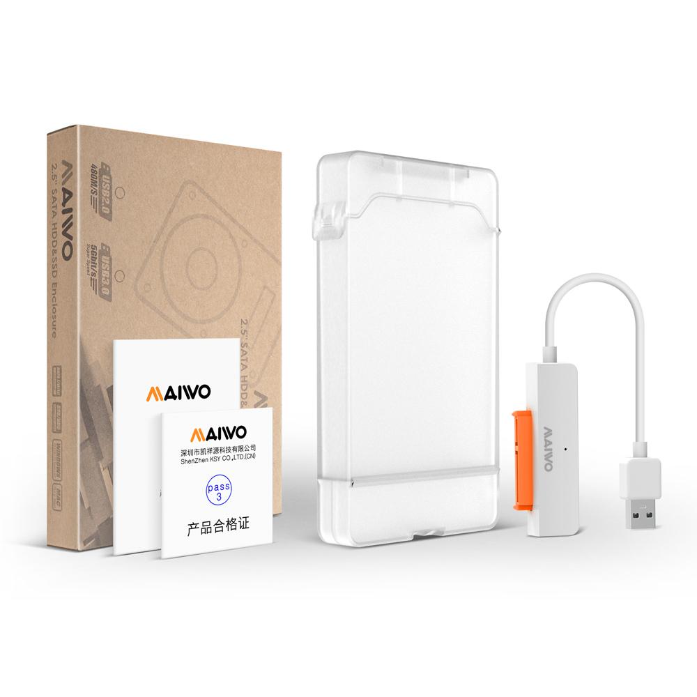 Кармандля жесткого диска MAIWO K104 Hard Drive Enclosurefor 2.5 с адаптером для подключенияHDD 2,5  PS4 бел