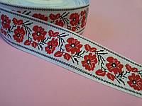 Лента репсовая Орнамент красный мак 40 мм метр