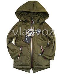 Детская демисезонная куртка на мальчика хаки 6-7 лет