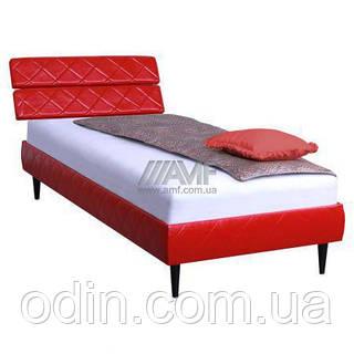 Кровать 0,8х2 Бизе, к/з Скаден красный, ножки буковые конус венге 029723