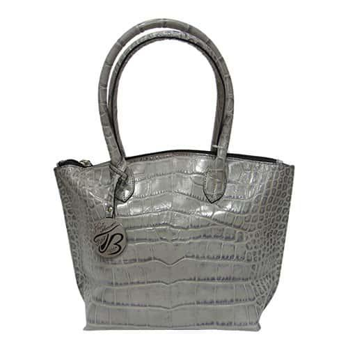 595e97681798 Женская сумка Felicita 7737 из натуральной кожи итальянская фабричная  серого цвета на две ручки - Интернет