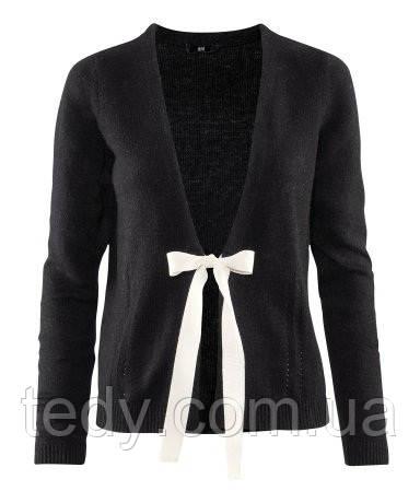 Кардиган H&M чорного кольору з стрічками зав'язками