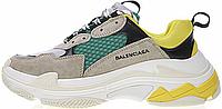 Женские кроссовки Balenciaga Triple S Beige Green Yellow (в стиле Баленсиага) серые