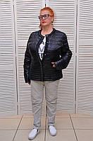 Черная Демисезонная курточка на молнии с жемчугом и карманами Италия