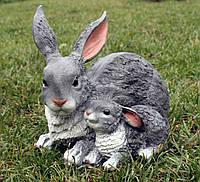 Зайчиха с зайчонком лежачие H-25см, фото 1