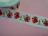 Лента репсовая Орнамент красный мак с листом 40 мм метр