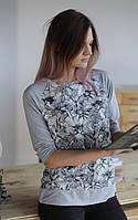 Блуза-свитшот из легкой вискозы с ажуром, рукав 3/4 на манжете.