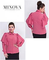 Женская батальная блуза с длинными объемными воланами на плечах