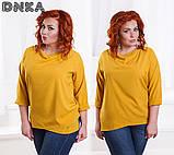Красивая женская блузка свободного кроя (3расцв.)БАТАЛ, фото 2