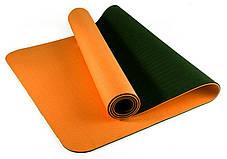 Коврик фитнеса и йоги «LS-3237-04» Orange (TPE) 1730x610x4 мм, фото 3