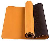 Коврик фитнеса и йоги «LS-3237-04» Orange (TPE) 1730x610x4 мм