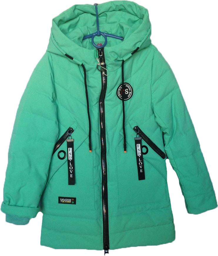"""Куртка подростковая демисезонная """"New Vogue"""" #ВМ-807 для девочек. 7-8-9-10-11 лет. Мята. Оптом."""