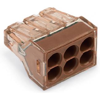 Клемма для распределительных коробок, на 6 проводов, 773-606 коричневая, WAGO