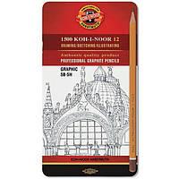 Карандаши графитные Koh-i-Noor 1500 Graphic 5В-5Н 1502.III 12 шт.
