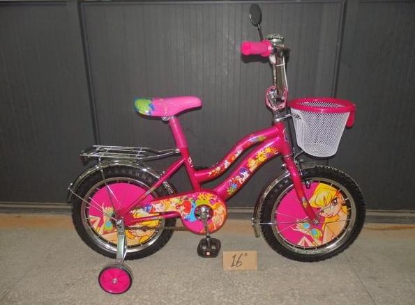 Двухколесный велосипед 14 дюймов  Mustang WINX розовый с корзинкой ***