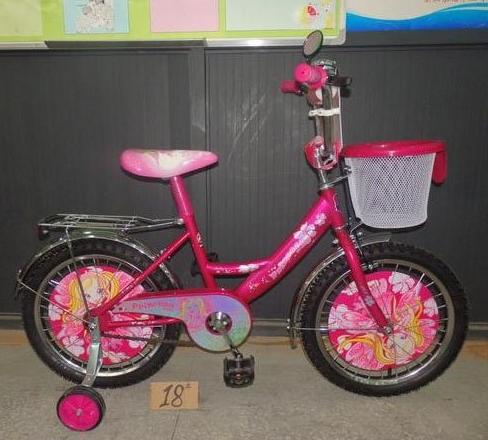 Двухколесный велосипед 14 дюймов  Mustang Princess розовый с корзинкой