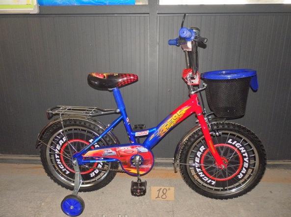 Двухколесный велосипед 14 дюймов  Mustang Тачки с корзинкой синий ***