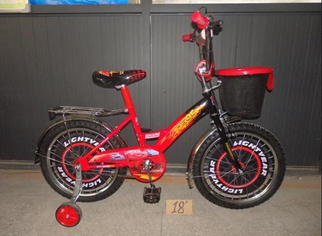 Двухколесный велосипед 14 дюймов  Mustang Тачки с корзинкой красный **
