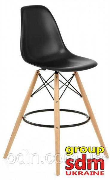 Стул барный Тауэр Вуд, ножки деревянный, пластик, цвет черный 001010HBL