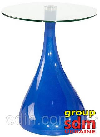 Стол журнальный Перла, закаленное стекло, пластик, цвет голубой k00706blu