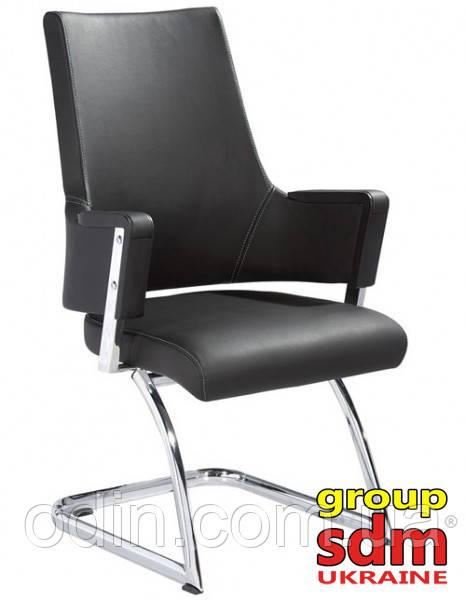 Кресло офисное Аризона Х, для посетителей, кожзам эко, цвет черный SDMCO0120