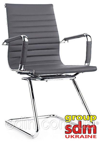 Кресло офисное Алабама Х, кожзам, на полозьях, цвет серый ALAB-XGREY