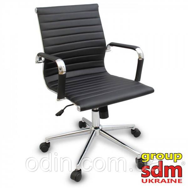 Кресло офисное Алабама MNEW, средняя спинка, хром, цвет черный ALAB-MBL